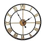 AMYZ Reloj de Metal de Cara Abierta de Hierro Redondo - Reloj de Pared de Metal Retro silencioso para Dormitorio Reloj de decoración de Sala de Estar Creativo-Dorado-2_45cm