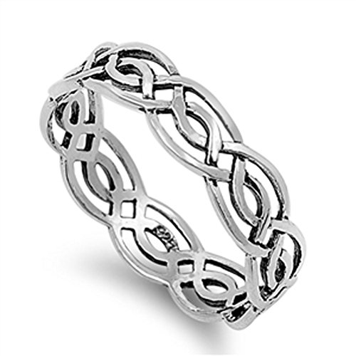 925 Sterling Silver Celtic Woven Style Band Ring 5 mm Wide (R)