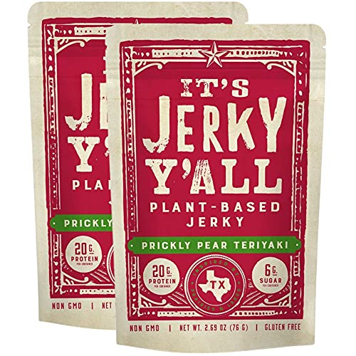 It's Jerky Y'all Vegan Jerky TERIYAKI - High Protein, Low Carb, Non-GMO, Gluten-Free, Vegetarian, Whole30 (2-Pack)