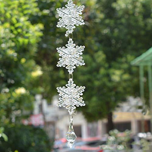 Wifehelper 10 Stks Sneeuwvlok Kristallen Kettingen, DIY Glas Opknoping Strand Raam Decoratie Home Room Decor