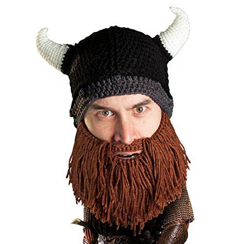 Beard Head Bartmütze – Räuber Wikingerhelm – Lustige Strickmütze falscher Bart