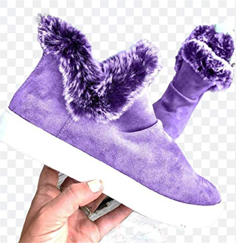 Botas de Invierno para Mujer Botas de Nieve Botas de Plataforma Botines cálidos Botines Planos de Mujer con Forro de Piel de Felpa Botas Cortas,Púrpura,42 EU