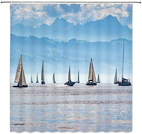 MMPTn Ocean Sailing Duschvorhang Flotte einzigartige natürliche Landschaft schöne Landschaft blau Bad Vorhang Dekoration wasserdicht 71 x 71 Zoll wasserdichtes Gewebe beinhaltet zwölf Kunststoffhaken