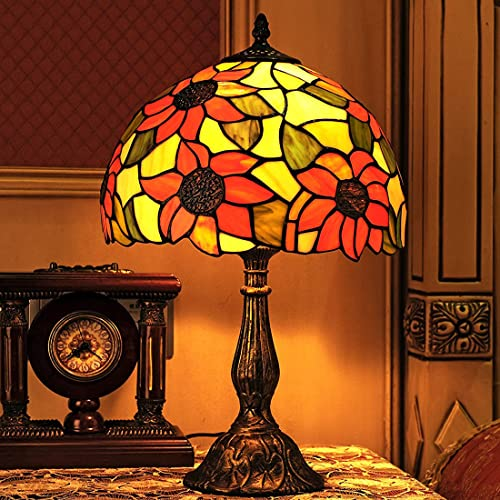 12' Tiffany Diseño de girasol lámpara de mesa Retro Vintage decorativa Lámpara de escritorio vidrio nostálgica europea creativa luz de mesa para Dormitorio, oficina, Sala de estar, sala de estudio
