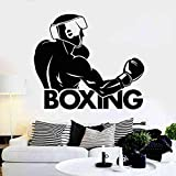 Njuxcnhg Gant de Boxe Autocollant Kick Boxer Play Car Decal Libre Combat Affiches Vinyle Striker Stickers Muraux Mur 58x67CM