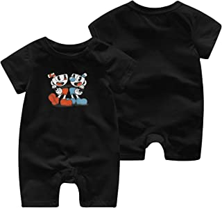 Soft Cotton Baby Boy Jumpsuit 0-3M Rompers for Baby Girls with Cuphead and Mugman Pattern Black