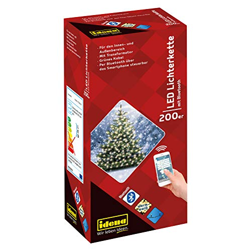Idena 31099 - LED Lichterkette mit 200 LED in warm weiß, per Bluetooth über das Smartphone steuerbar, Innen und Außenbereich, für Partys, Weihnachten, Deko, Hochzeit, als Stimmungslicht, ca. 25 m