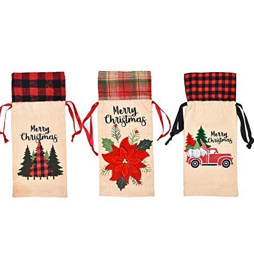 Casinlog - Bolsa de 3 piezas para botellas de vino de Navidad, coche, árbol de Navidad, flor, para fiestas de Navidad, Año Nuevo, decoración de cena, regalo de Navidad