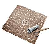 iDesign Pebblz Plastic Suction Non-Slip Bath Mat for Shower, Bathtub, Stall, 22' x 22', Amber Brown