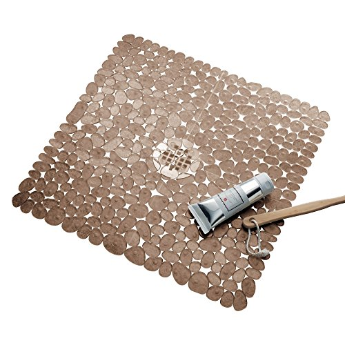 "iDesign Pebblz Plastic Suction Non-Slip Bath Mat for Shower, Bathtub, Stall, 22"" x 22"", Amber Brown"