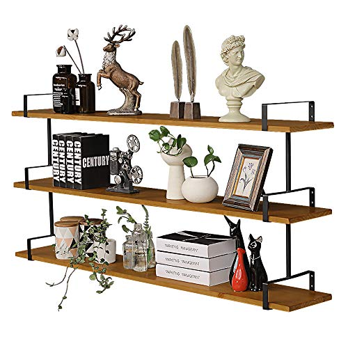 3 Tier Industrial Wall Shelf, Rustic Pipe Shelving Unit, Vintage Decorative Accent for Bedroom Living Room Bathroom Kitchen Office (Brown)
