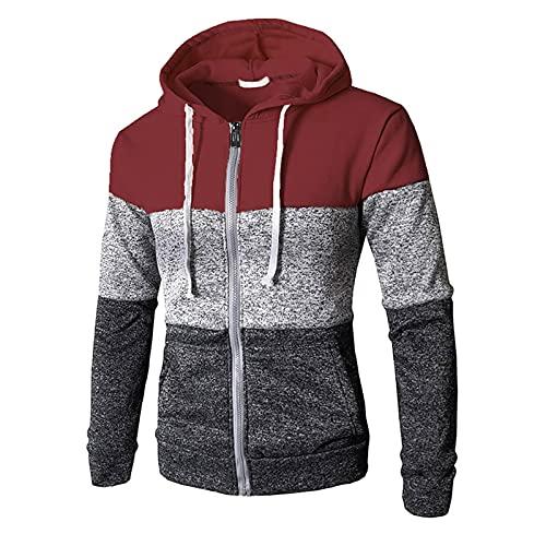 Chejarity Sudadera con capucha y cremallera para hombre, diseño de bloques de colores, con bolsillos, Vino, XXL