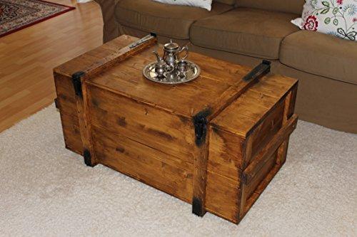Uncle Joe´s Truhe Couchtisch Truhentisch im Vintage Shabby chic Style aus Massiv-Holz in braun mit Stauraum und Deckel Holzkiste Beistelltisch Landhaus Wohnzimmertisch Holztisch - 2