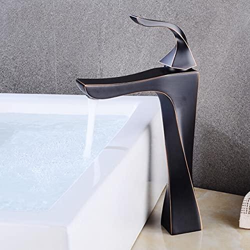 Grifo Grifo de lavabo de baño, grifo de cascada de níquel negro, acabado de grifo de latón, grifo de agua fría caliente, grúa de inodoro, grifo mezclador montado en la cubierta