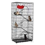 Tooca 6-Tier Cat Cage, Large Pet Playpen Wire Metal Kitten Crate Kennel, Cat Playpen Pet Home with Hammocks, Balcony, Ramps, Doors and Locks, 77 Inchs
