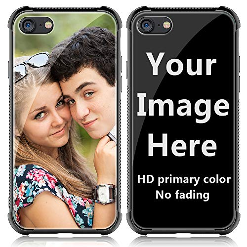 Shumei Custom Case iPhone 7 or iPhone 8 Glass Cover 4.7 inch Anti-Scratch Soft TPU Personalized Photo Make Your Own Picture Phone Cases