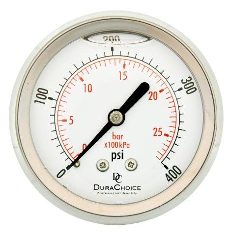 DuraChoice 2-1/2' All Stainless Steel Oil Filled Pressure Gauge - 1/4' NPT Center Back Mount