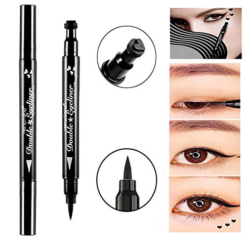 Pinkiou Eyeliner Pen wasserdicht mit Make-up Stempel Doppelköpfe für Body Face Painting (Herzform)