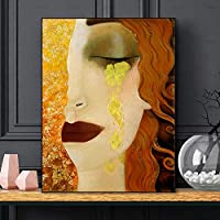 キャンバスウォールアート北欧キャンバス絵画ゴールドティアーズアートポスターとプリントクラシックアートウォール写真リビングルームの家の装飾-40x60cmフレームなし
