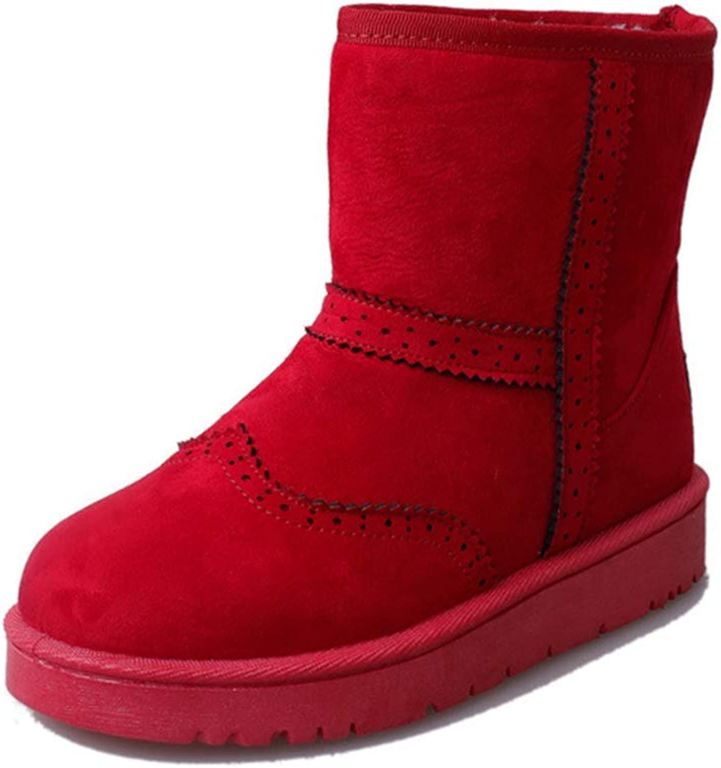 York Zhu Women Boots,Slip-on High-top Warm Cotton Flats Winter Snow Boots