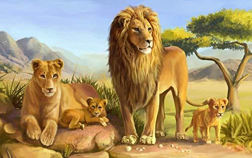 Puzzels 1000 stukjes Familie Lion King of Beasts 75cm * 50cm Vrije tijd en amusement familiespellen Puzzel Decompressie Decoupeerzagen