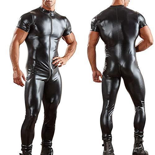 Tomatoa Herren Sexy Spitze Dessous Leder Wetlook Minikleid rückenfreie Clubwear Nachtwäsche Nachthemden Bodysuit Harness PU Erotik Unterwäsche