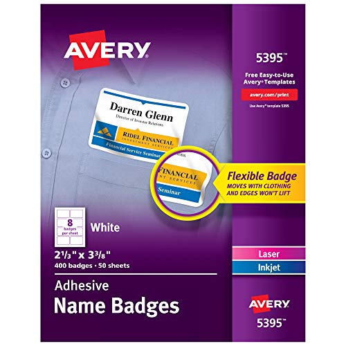 Avery Flexible Name Tag Stickers, White Rectangle Labels, 400 Removable Name Badges, 2-1/3 x 3-3/8 (5395)