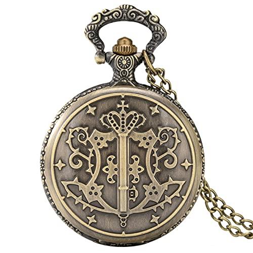 SSXR Reloj de Bolsillo con patrón de diácono Negro único Reloj Colgante de Cadena Delgada Retro de Bronce Reloj clásico con números Romanos para Mujeres Hombres-predeterminado, a
