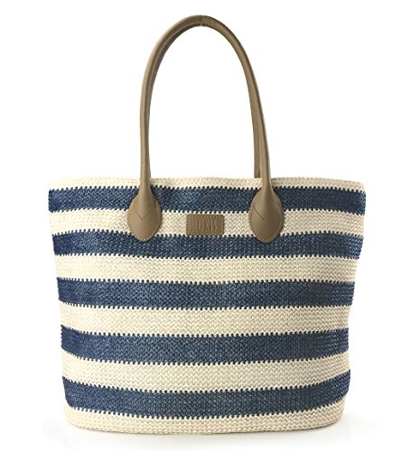 Striped Synthetic Straw Womens Tote Light Weight Vaction Shoulder Handbag (Navy)