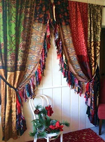 2 Stück indische Vintage-Sari-Vorhänge, mehrfarbig, handgefertigt, Patchwork-Vorhänge, Heimdekoration, Vorhang (sortiert)