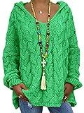 Onsoyours Mujer Suéteres Casuales Punto Jersey con Capucha Cuello En V Color Sólido Manga Larga Suelto Blusa Camiseta Sweater Pullover Jumper Tops Verde L