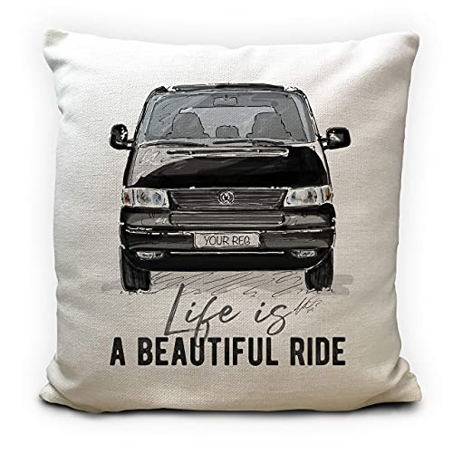 Personalised Camper Van Transporter T5 Cushion Cover Gift 5 Colour Choices...