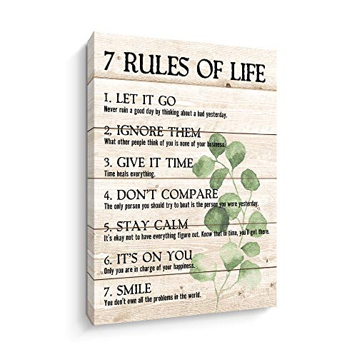Motivational Quotes Wall Art- Plant Print 7 Rules of...