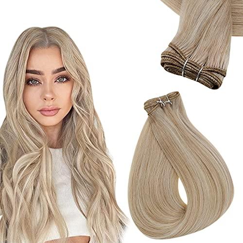 Easyouth Extensions de Cheveux à Trame Droite Extensions de Tissage Remy Brésilien Couleur Blonde Cendrée Rehaussée de Blonde Jaune 70g 12pouce 1pcs