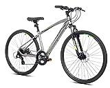 700c Giordano Brava Hybrid Comfort Bike, Large, Silver