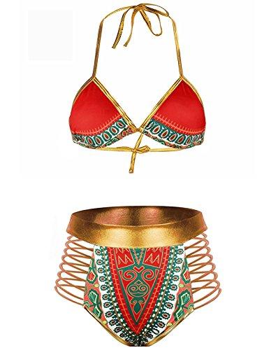 ZANDO Women Tribal Print Bikini African Metallic Swimsuit Fashion Two Piece Beachwear Cutout Halter Neck Bathing Suit Swimwear Red L (US Size 8-10)