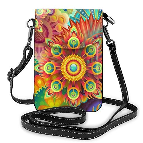 XCNGG Fashion Crossbody Cell Phone Purse - Psychedelic Trippy Mandala Flower - Women PU Leather smart phone Shoulder Pouch Handbag with Adjustable Strap