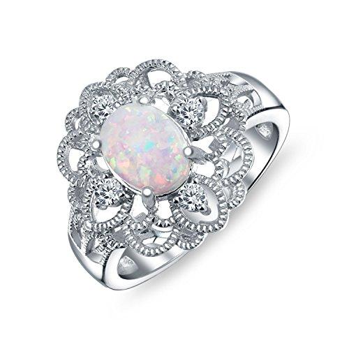 Vintage-Stil Zirkonia Verzierten Filigrane Ovale Blume Weiß Opal Boho Voller Finger Ringe 925 Sterling Silber Erstellt