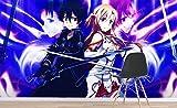 3D Sword Art Online Japanese Anime Benutzerdefinierte Größe Fototapete Wandbild Wallpaper Mural Wand Tapete Jungen Mädchen Kinder Schlafzimmer Wandkunst Raumdekor 150cmx105cm