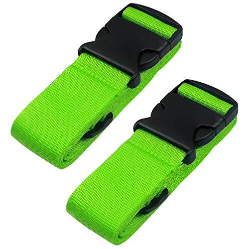 Heavy Duty Luggage Straps for Suitcases Packing Belts Travel Accessories Adjustable Bag Strap 2 Pack (Green)