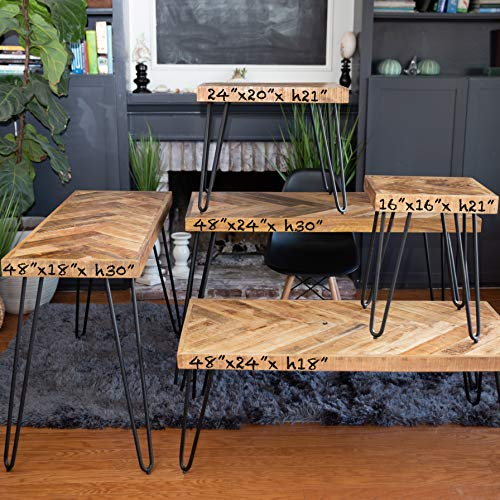 Mindful Living Solid Wood Chevron Living Room Table Collection (Entry Table)