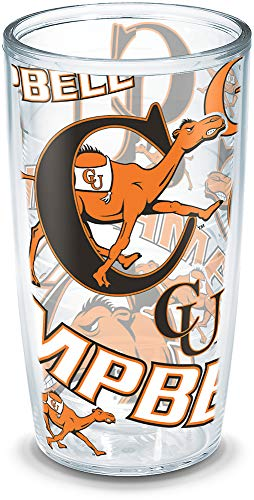 Tervis 1271092 Campbell University All Over Insulated Tumbler with Wrap, 16oz, Clear