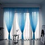 BOYOUTH Cortinas de gasa transparente de color sólido, con bolsillo para barra de ventana para dormitorio, sala de estar, hotel, azul, 1 panel, 1 panel de 198 x 250 cm