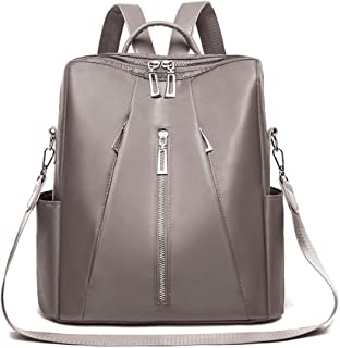 Fashion Solid Color Zipper Women's Backpack Travel School Shoulder Bag Daypack (Color : Khaki)