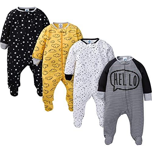 Gerber Baby Boys' 4 Pack Sleep 'N Play Footie, Star, 6-9 Months