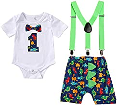 Baby Boys Cake Smash Clothes Dinosaur Bodysuit Diaper Suspenders Pants 3PCS Set First Birthday Outfit for Photo Prop Party (Dinosaur, 12-18 Months)
