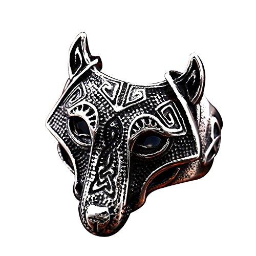 BAVAHA Stainless Steel Norse Viking Nordic Wolf Animal Thor Hammer Man Ring Fashion Punk Rock Jewelry (Norse Viking Prime, 7)