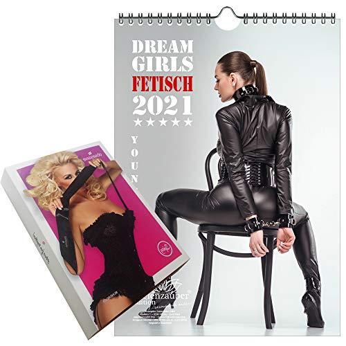 Sexy Fetisch Girls DIN A4 Kalender für 2021 - Geschenkset Inhalt: 1x Kalender, 1x Augenbinde (2 Teile)