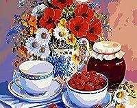 子供のための数字によるDIYフルーツフラワーペイント大人の初心者DIY油絵寝室用16x20インチパターン手描きの油絵