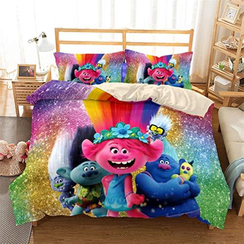 EA-SDN Trolls Glow - Juego de funda nórdica y funda de almohada (algodón, poliéster, multicolor)...